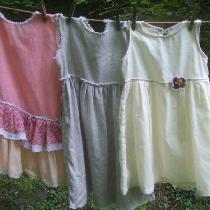 Three little girls dresses, size 4, made with. from right to left, Krista natural, 019,  with a...