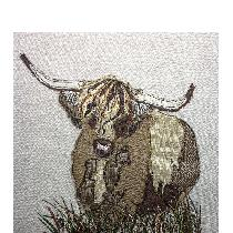 HIGHLAND COW - raw edge applique designed and stitched by myself using doggie bag linen pieces