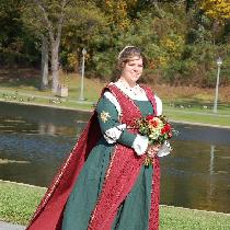 An Italian Renaissance wedding gown for a friend. White chemise and green gown are %100 linen, w...
