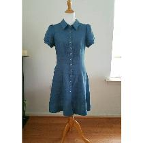 Classic silhouette shirt dress in IL 019 colorway Blue Bonnet with vintage shell buttons