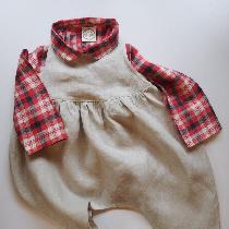 Gathered harem style kids romper. Plaid Peter Pan collar simple button up shirt.