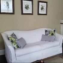 Sofa slipcover in white linen.