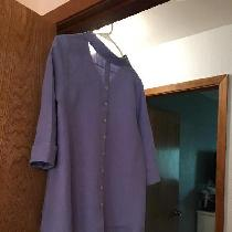 Periwinkle Linen Blouse, with buttons running down backside.