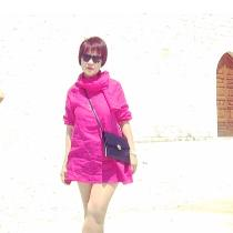 Made this light weight pink linen (IL020) mini dress with separate scarf (same fabric)...