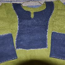 Viking outer tunic.  Made with Green 100% linen and Cobalt Blue 100% linen.  Top stitching is do...