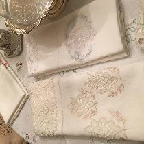 Hand embroidered using Belgium lace pillowcases Drawn handwork. Using beautiful bleached softene...