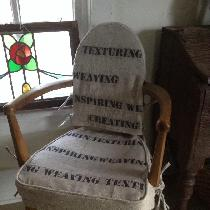 I used 4C22 natural rustic linen and script linen remnants from local drapery shop. I fashioned...