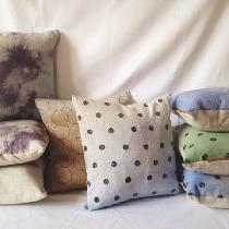 I Hand Paint my linen pillows using mineral pigments and Hand Sew all my Pillows and bags.