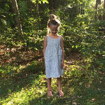 Girl's Yarn Dye Striped Linen Play Dress
