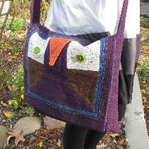 Owl Messenger Bag - Made with 100% linen (8-oz canvas weight) in royal purple, patriot blue, cho...