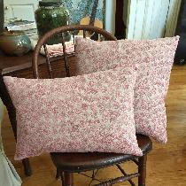 Hand block printed pillows on natural linen.