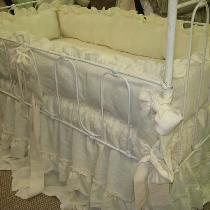 Romantic Ruffled Nursery Bedding Made using washed linen Pristine IL019