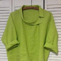 Original design using 1C64 Bright Chartreuse linen. Top has asymmetrical, off set collar with on...