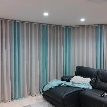 Window covering for a combined 12 feet long sliding doors wall. Curtains are made from natural a...