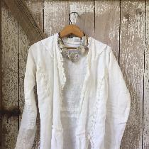 Optic white linen jacket, medium weight on body and light weight on ruffles.